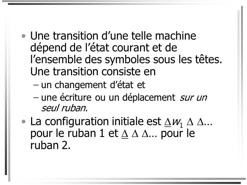 Machines de Turing à plusieurs rubans Considérons une machine de Turing à 2 rubans (la notion se généralise facilement à un nombre arbitraire de ruban
