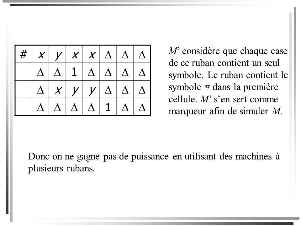 Par exemple, ces deux rubans seraient représentés par le ruban suivant. … x yxx … x yy #xyxx 1 xyy 1 La ligne 1 est le contenu du ruban 1; la ligne 2