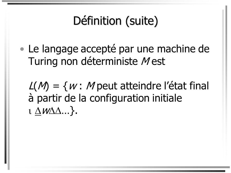 Définition Tout comme une machine de Turing déterministe, une machine de Turing non déterministe est un sixtuplet (S,,,,, h); cependant la quatrième c