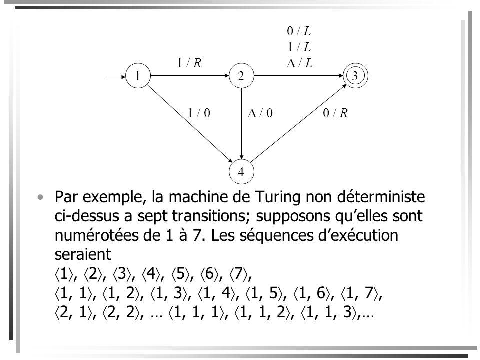 Démonstration Voici un aperçu de la preuve. La machine D a trois rubans. 1.Le ruban 1 contient la séquence dentrée w. 2.Le ruban 2 est un ruban de tra