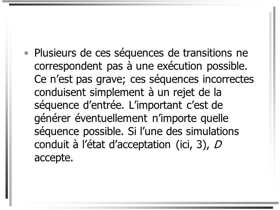 Par exemple, la machine de Turing non déterministe ci-dessus a sept transitions; supposons quelles sont numérotées de 1 à 7. Les séquences dexécution