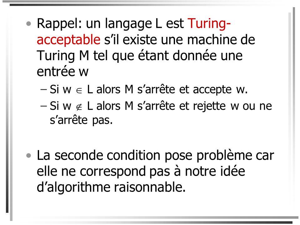 Théorème Les langages reconnus par les machines de Turing sont exactement les langages générés par les grammaires à structures de phrase.