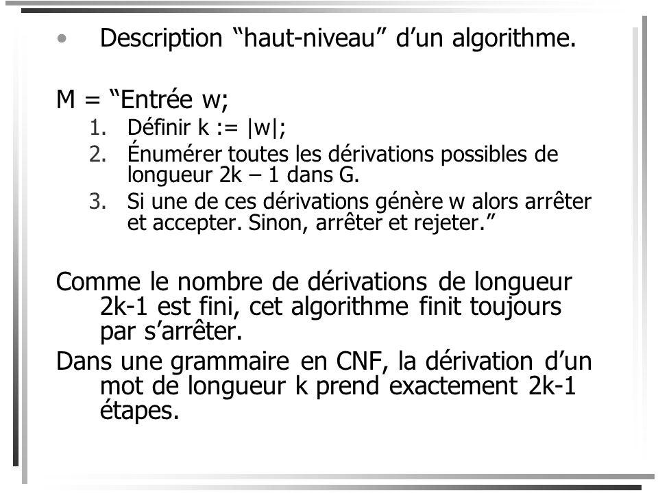 Démonstration Supposons que K est un langage non- contextuel et que G = (V, T, S, R) est une grammaire en forme normale de Chomsky telle que L(G) = K.