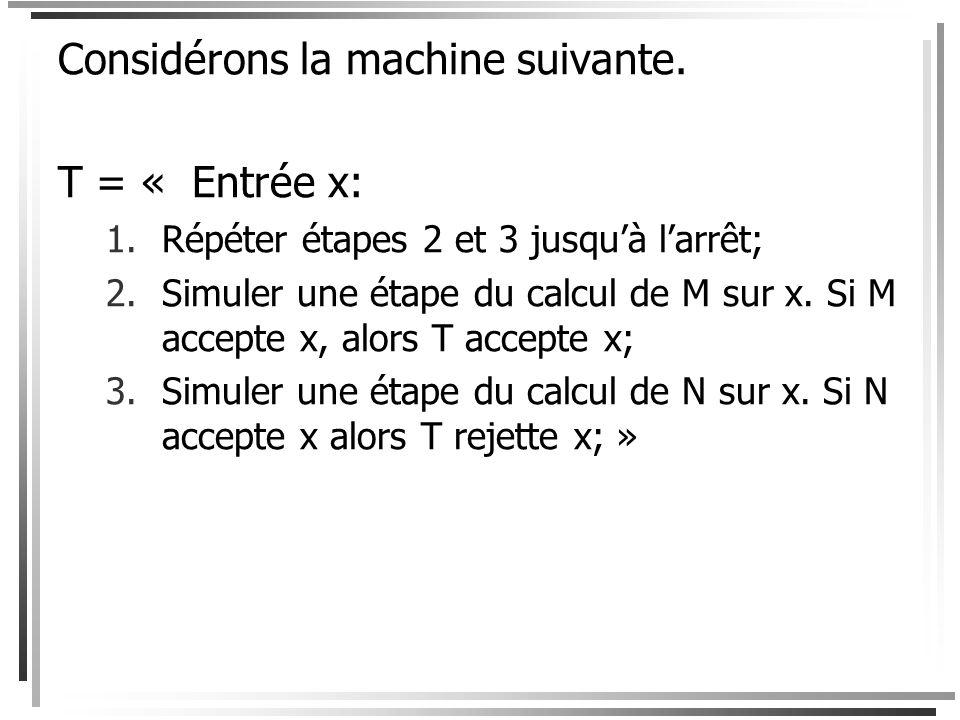 Preuve Supposons que M et N sont des machines de Turing telles que L(M) = L et L(N) = L c. Nous navons par contre pas de garantie que M et N terminent