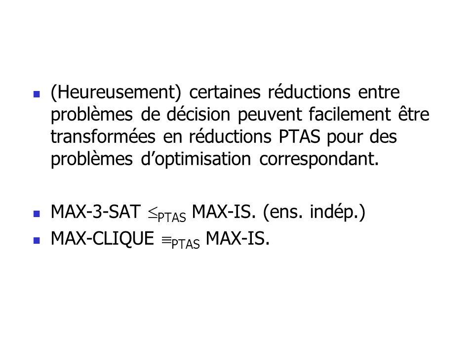 (Heureusement) certaines réductions entre problèmes de décision peuvent facilement être transformées en réductions PTAS pour des problèmes doptimisati
