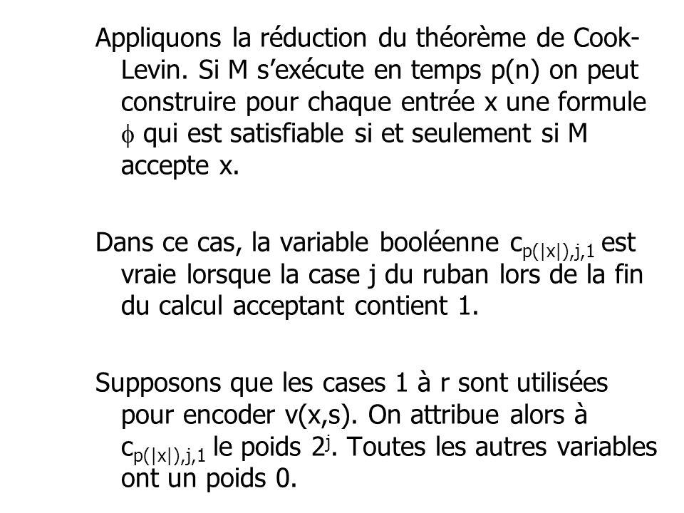 Appliquons la réduction du théorème de Cook- Levin. Si M sexécute en temps p(n) on peut construire pour chaque entrée x une formule qui est satisfiabl