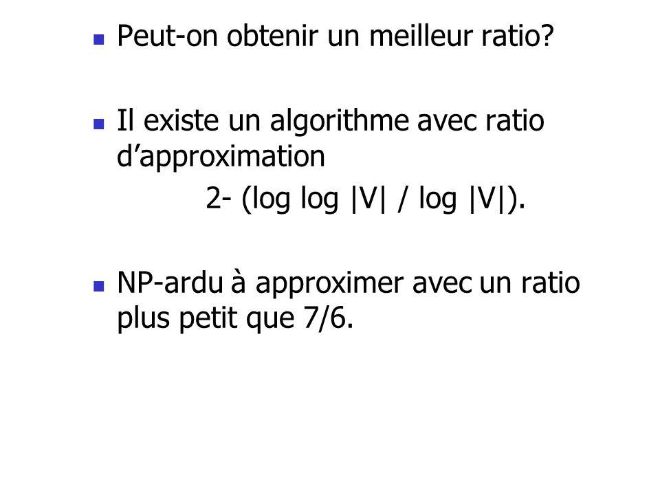 Peut-on obtenir un meilleur ratio? Il existe un algorithme avec ratio dapproximation 2- (log log |V| / log |V|). NP-ardu à approximer avec un ratio pl