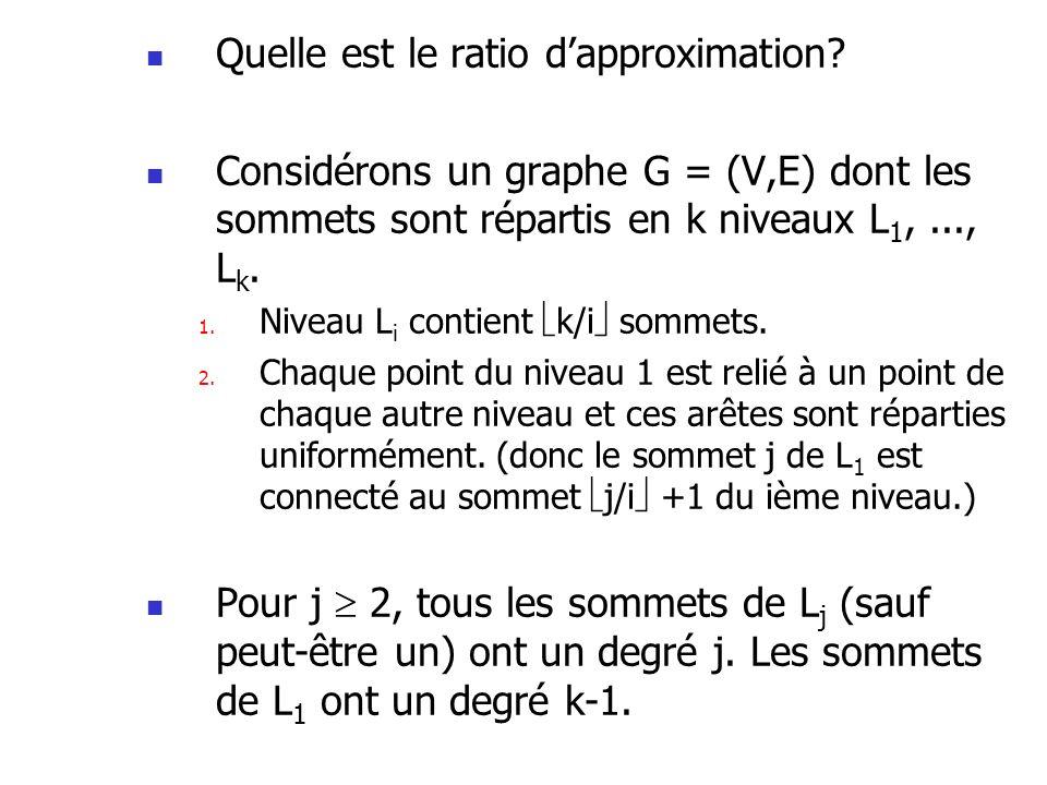 Quelle est le ratio dapproximation? Considérons un graphe G = (V,E) dont les sommets sont répartis en k niveaux L 1,..., L k. 1. Niveau L i contient k