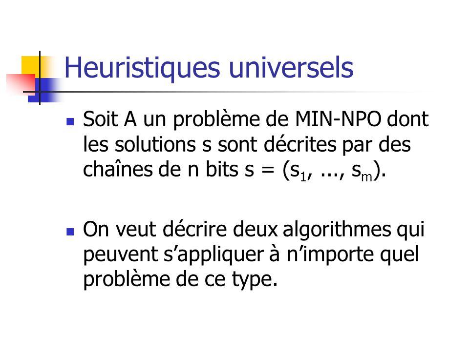 Heuristiques universels Soit A un problème de MIN-NPO dont les solutions s sont décrites par des chaînes de n bits s = (s 1,..., s m ). On veut décrir