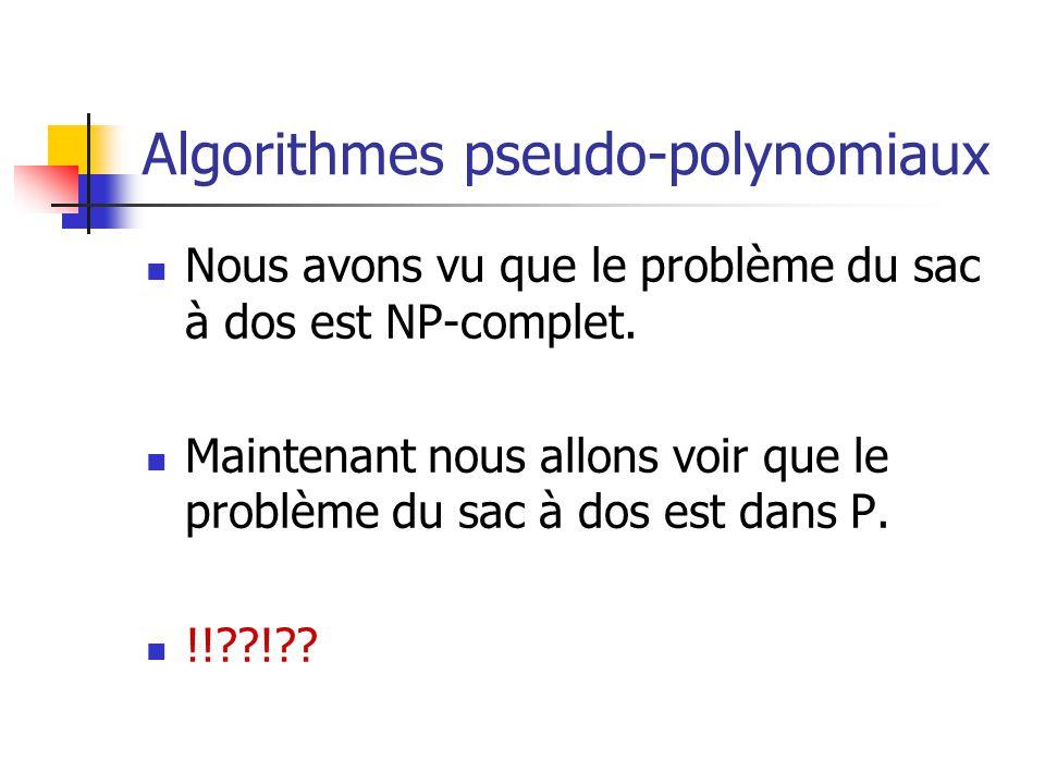 Algorithmes pseudo-polynomiaux Nous avons vu que le problème du sac à dos est NP-complet. Maintenant nous allons voir que le problème du sac à dos est
