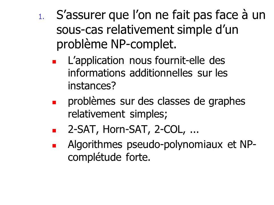 La leçon à retenir Dans certains cas, on peut contourner la NP- complétude de problèmes impliquant des entiers si ces entiers sont relativement petits.