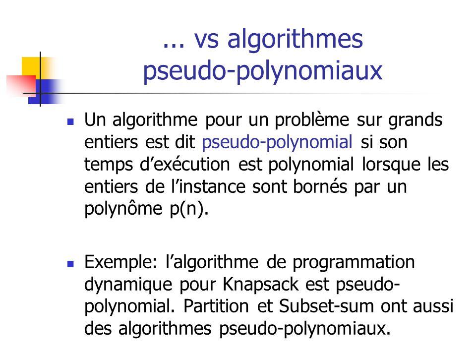 ... vs algorithmes pseudo-polynomiaux Un algorithme pour un problème sur grands entiers est dit pseudo-polynomial si son temps dexécution est polynomi