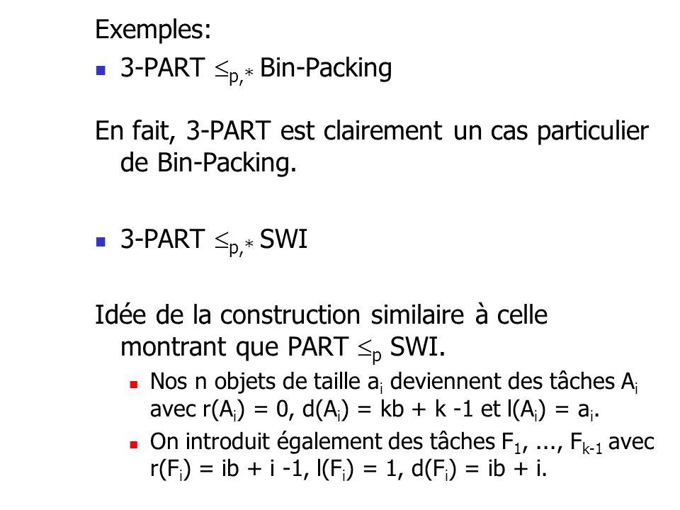 Exemples: 3-PART p,* Bin-Packing En fait, 3-PART est clairement un cas particulier de Bin-Packing. 3-PART p,* SWI Idée de la construction similaire à