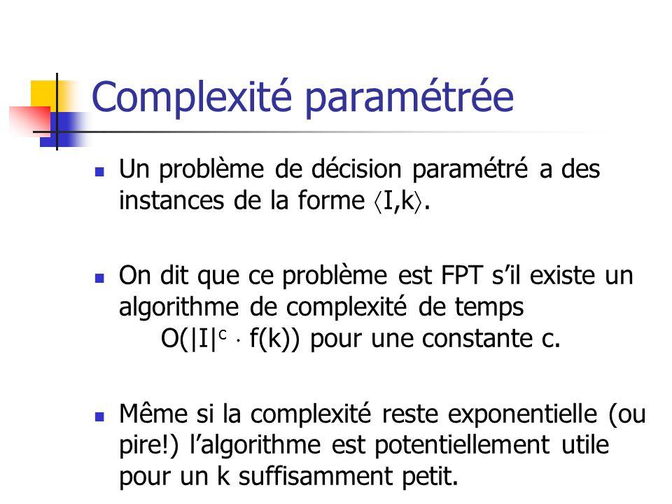 Complexité paramétrée Un problème de décision paramétré a des instances de la forme I,k. On dit que ce problème est FPT sil existe un algorithme de co