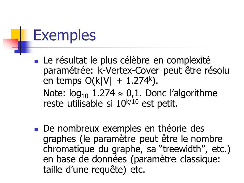 Exemples Le résultat le plus célèbre en complexité paramétrée: k-Vertex-Cover peut être résolu en temps O(k|V| + 1.274 k ). Note: log 10 1.274 0,1. Do