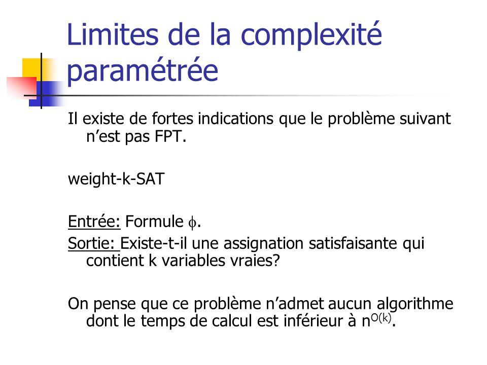 Limites de la complexité paramétrée Il existe de fortes indications que le problème suivant nest pas FPT. weight-k-SAT Entrée: Formule. Sortie: Existe