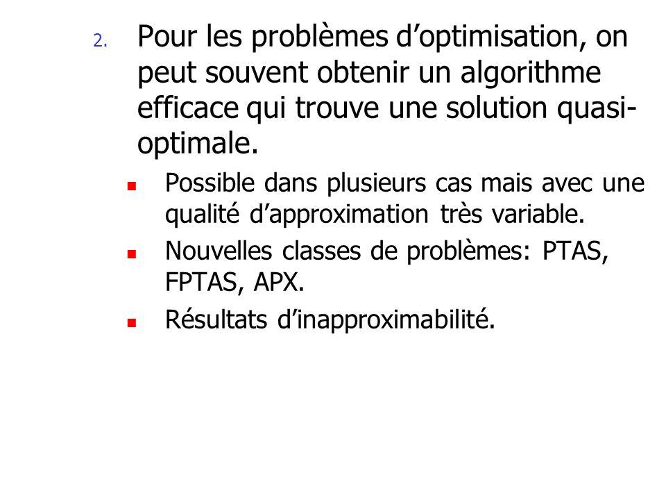 Algorithme dapproximation Un algorithme dapproximation pour un problème MAX-P doptimisation est un algorithme qui étant donné une instance x retourne une solution s S(x).