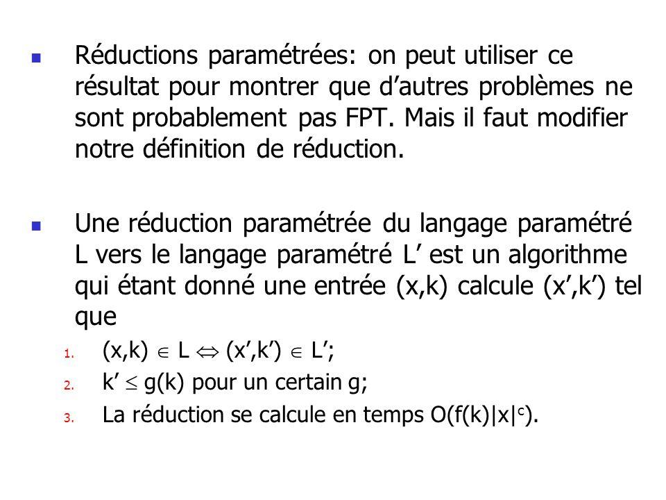 Réductions paramétrées: on peut utiliser ce résultat pour montrer que dautres problèmes ne sont probablement pas FPT. Mais il faut modifier notre défi