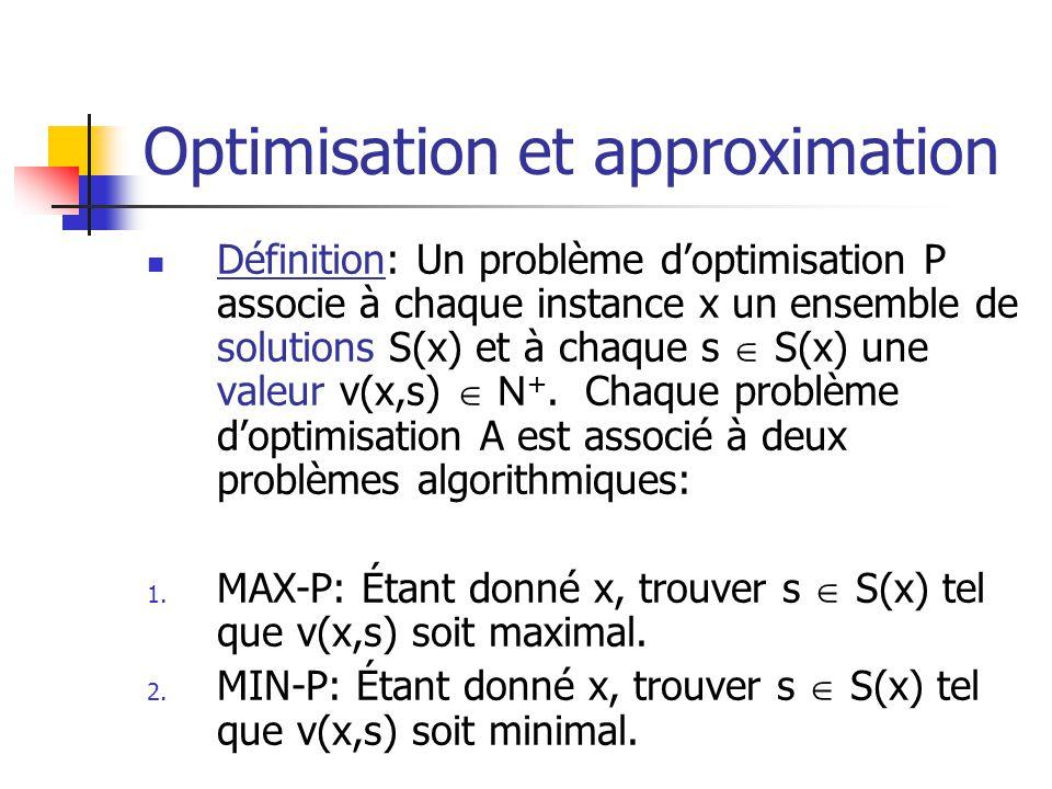 Optimisation et approximation Définition: Un problème doptimisation P associe à chaque instance x un ensemble de solutions S(x) et à chaque s S(x) une