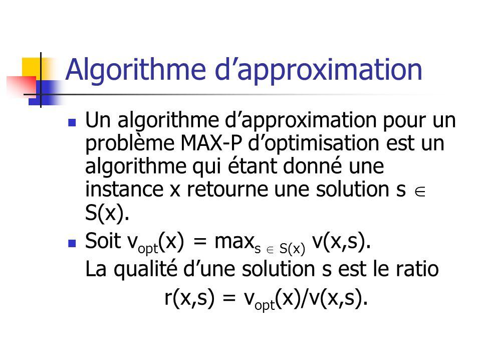 Algorithme dapproximation Un algorithme dapproximation pour un problème MAX-P doptimisation est un algorithme qui étant donné une instance x retourne