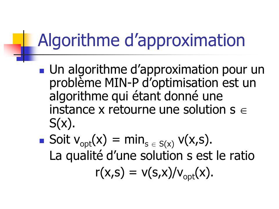 Algorithme dapproximation Un algorithme dapproximation pour un problème MIN-P doptimisation est un algorithme qui étant donné une instance x retourne