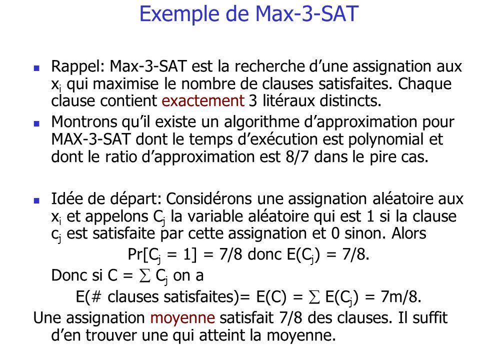 Exemple de Max-3-SAT Rappel: Max-3-SAT est la recherche dune assignation aux x i qui maximise le nombre de clauses satisfaites. Chaque clause contient