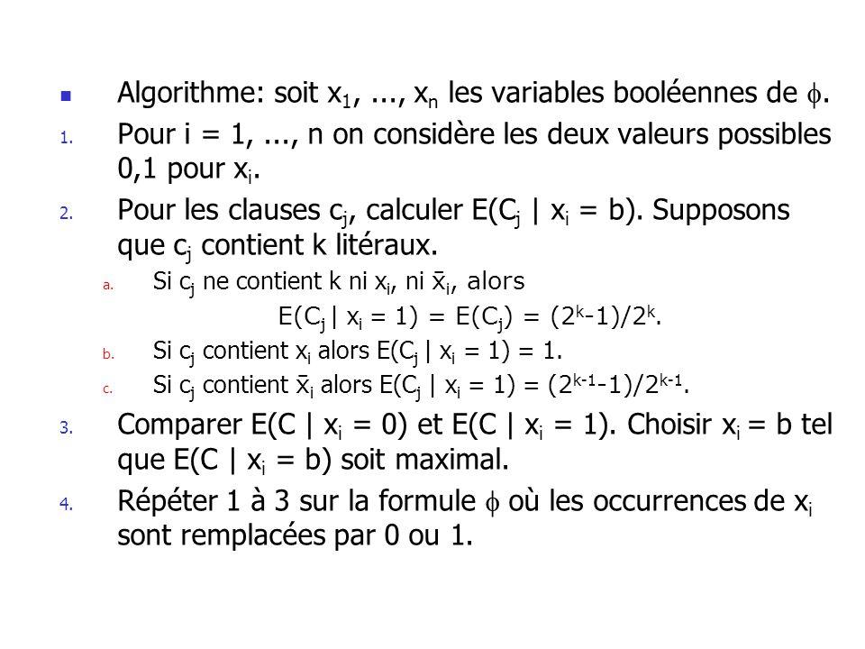 Algorithme: soit x 1,..., x n les variables booléennes de. 1. Pour i = 1,..., n on considère les deux valeurs possibles 0,1 pour x i. 2. Pour les clau
