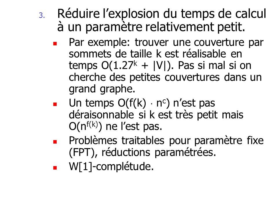 Algorithmes dapproximation classiques ProblèmeAlgorithme dapproximation MAX-CLIQUEO(n/log 2 n) MIN-VC2 MAX-3-SAT8/7 MIN-BIN-PACKING3/2 MIN-TSP 3/2 MIN-VC planaire PTAS MAX-KNAPSACKFPTAS