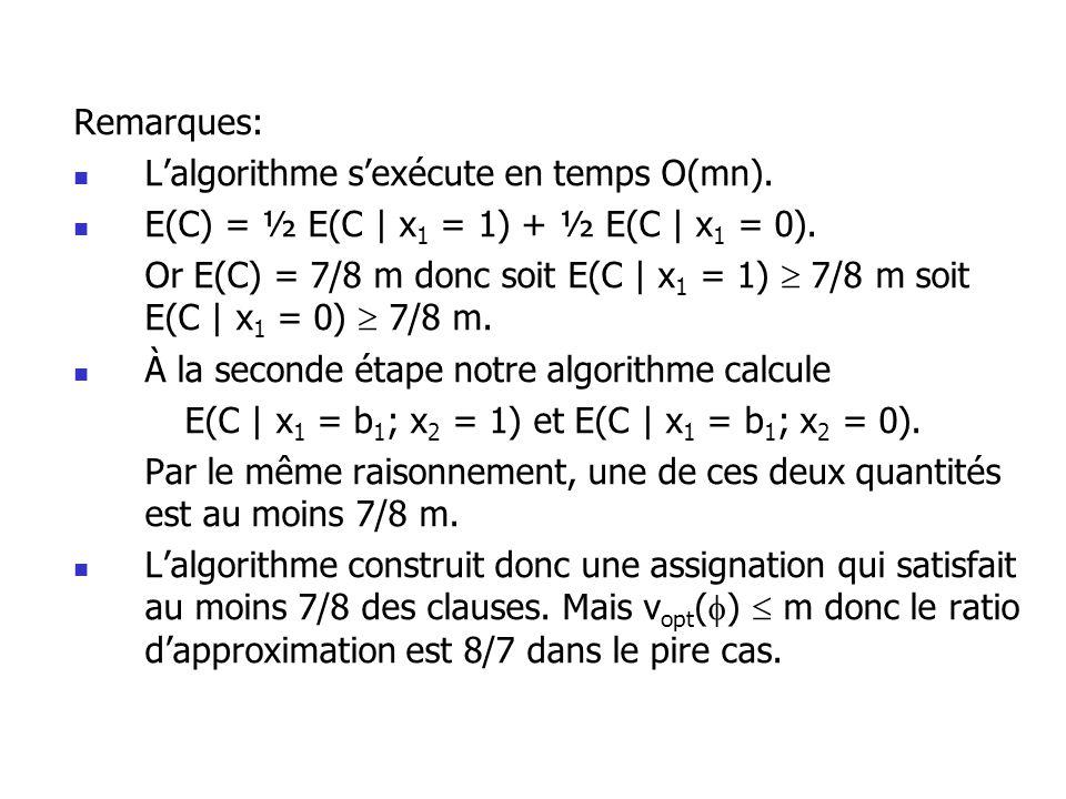 Remarques: Lalgorithme sexécute en temps O(mn). E(C) = ½ E(C | x 1 = 1) + ½ E(C | x 1 = 0). Or E(C) = 7/8 m donc soit E(C | x 1 = 1) 7/8 m soit E(C |