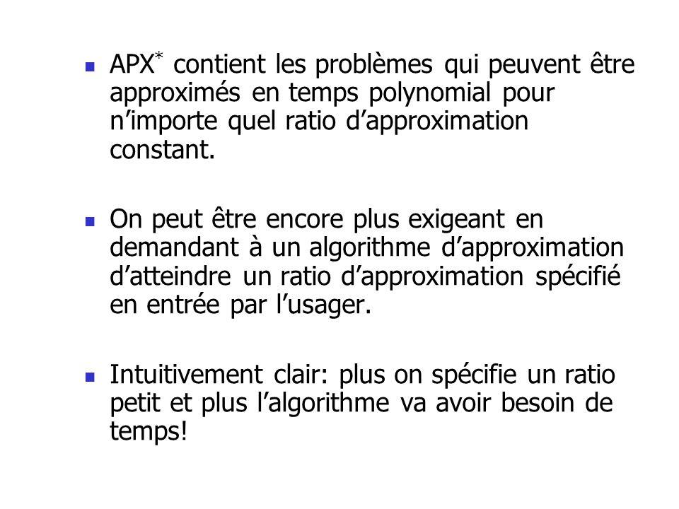 APX * contient les problèmes qui peuvent être approximés en temps polynomial pour nimporte quel ratio dapproximation constant. On peut être encore plu