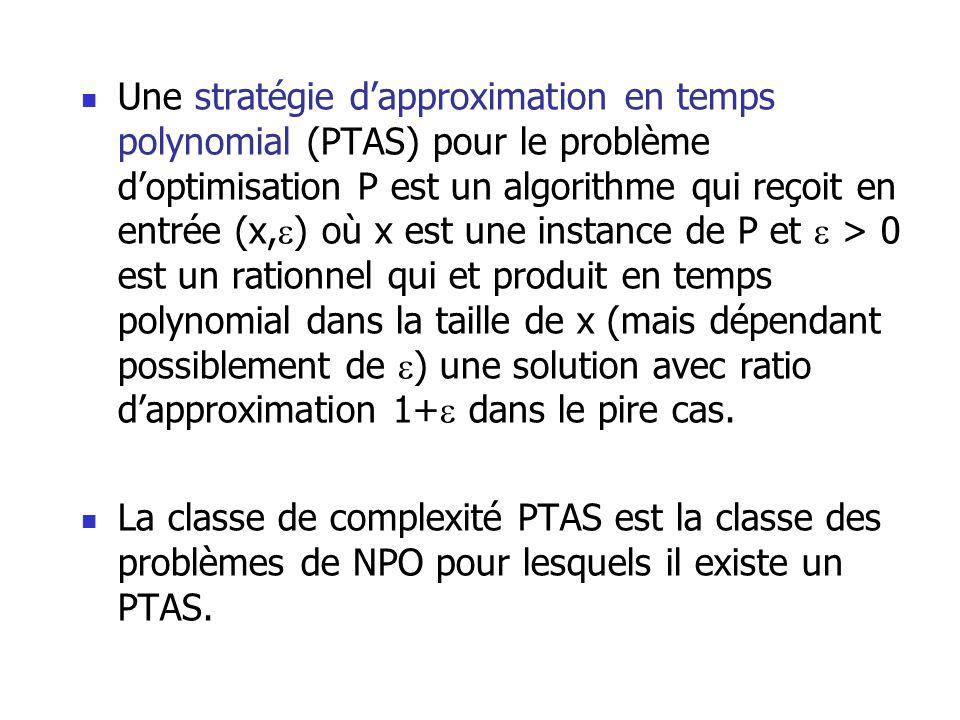Une stratégie dapproximation en temps polynomial (PTAS) pour le problème doptimisation P est un algorithme qui reçoit en entrée (x, ) où x est une ins