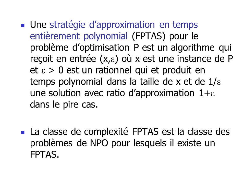 Une stratégie dapproximation en temps entièrement polynomial (FPTAS) pour le problème doptimisation P est un algorithme qui reçoit en entrée (x, ) où