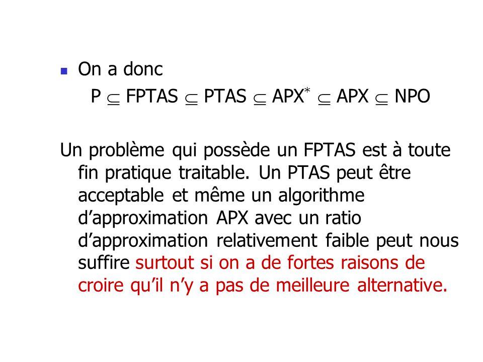 On a donc P FPTAS PTAS APX * APX NPO Un problème qui possède un FPTAS est à toute fin pratique traitable. Un PTAS peut être acceptable et même un algo