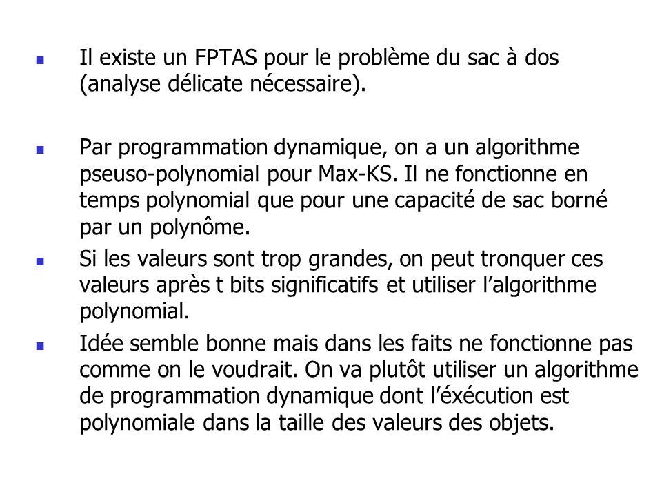 Il existe un FPTAS pour le problème du sac à dos (analyse délicate nécessaire). Par programmation dynamique, on a un algorithme pseuso-polynomial pour
