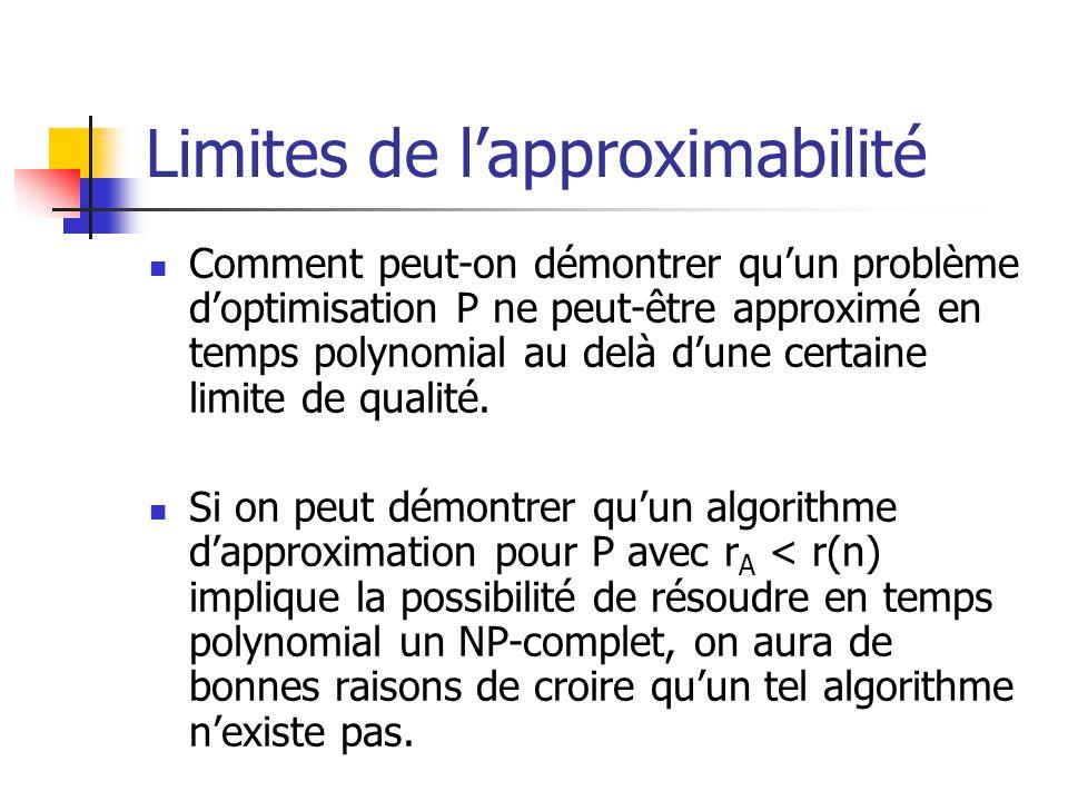 Limites de lapproximabilité Comment peut-on démontrer quun problème doptimisation P ne peut-être approximé en temps polynomial au delà dune certaine l
