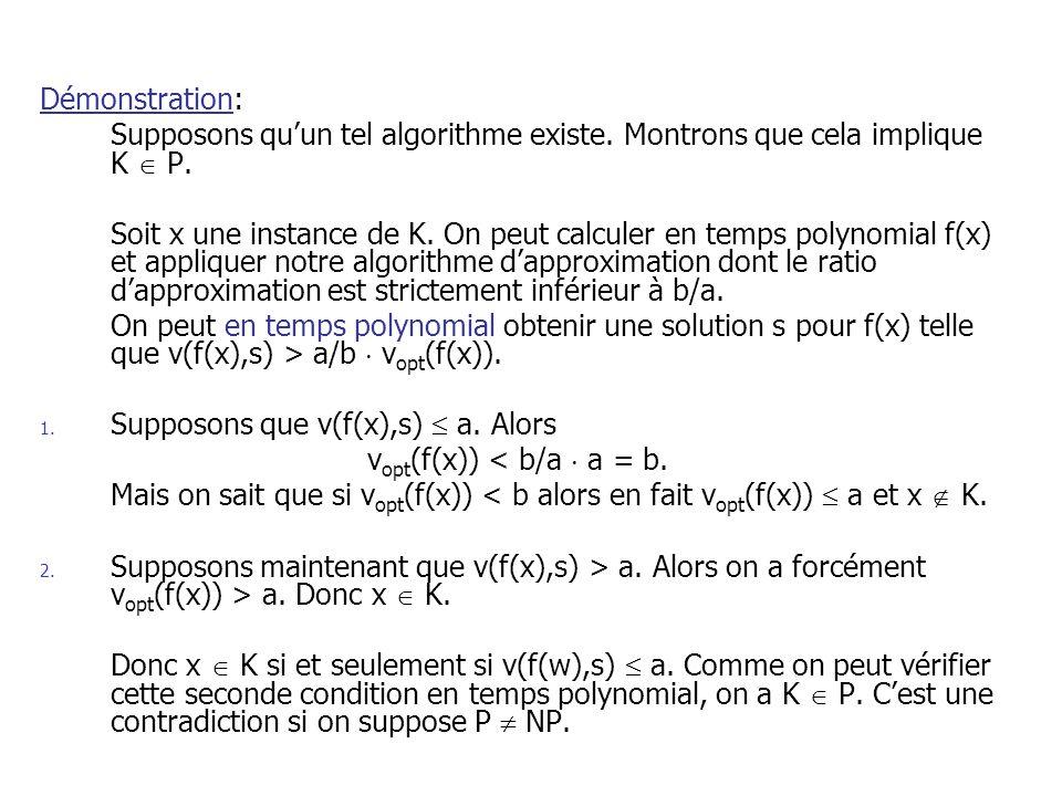 Démonstration: Supposons quun tel algorithme existe. Montrons que cela implique K P. Soit x une instance de K. On peut calculer en temps polynomial f(