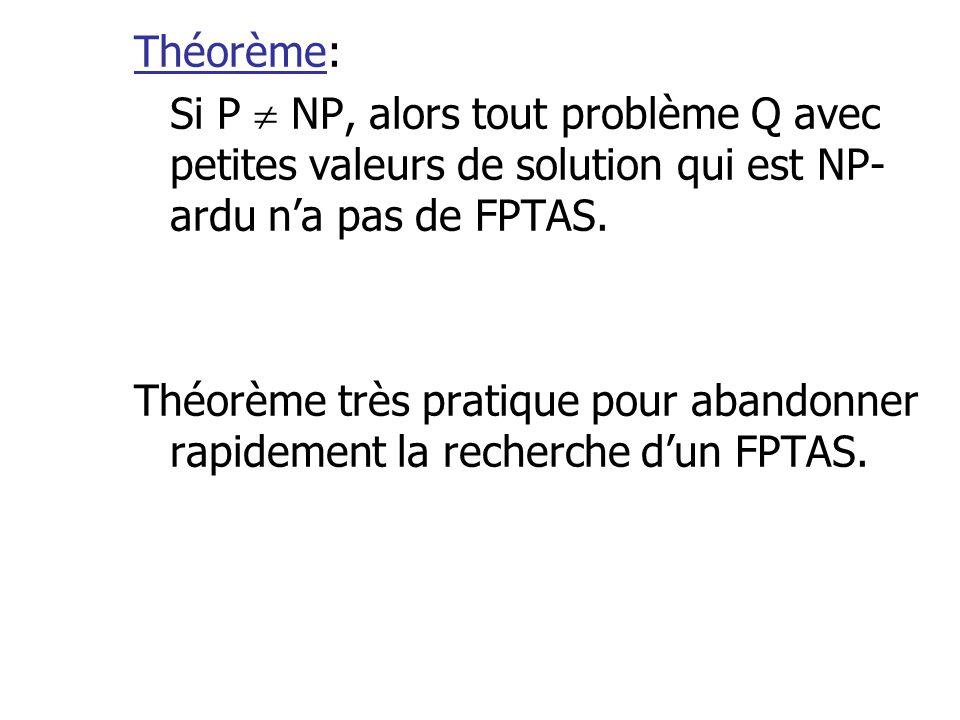 Théorème: Si P NP, alors tout problème Q avec petites valeurs de solution qui est NP- ardu na pas de FPTAS. Théorème très pratique pour abandonner rap