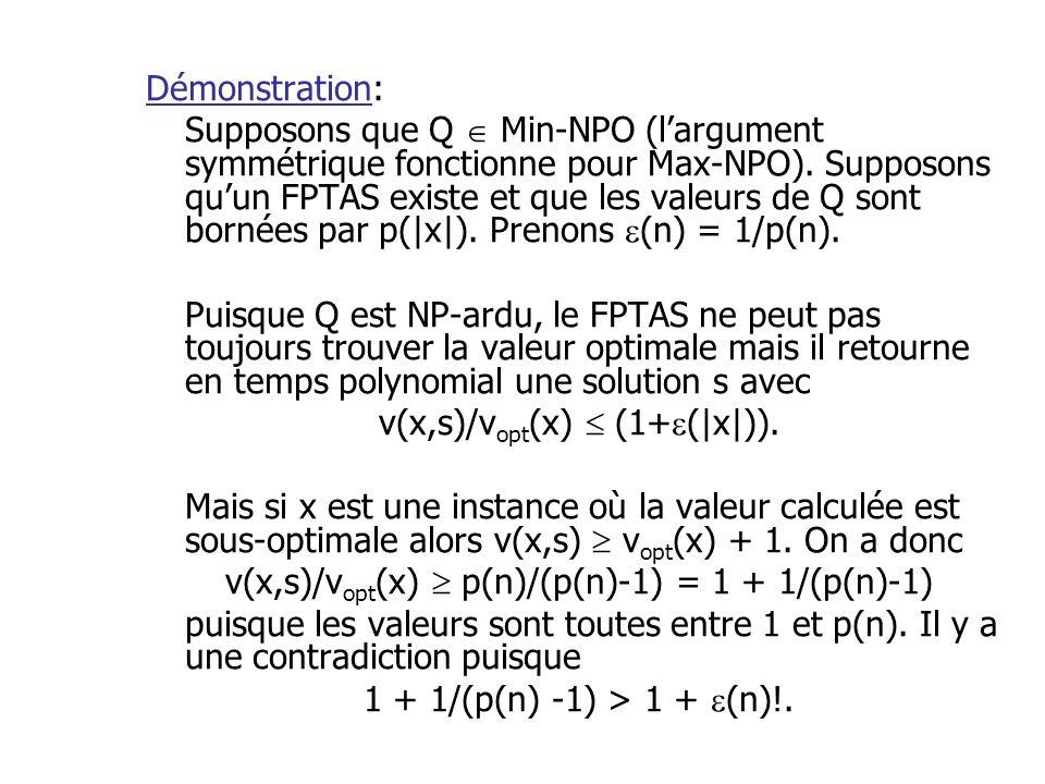 Démonstration: Supposons que Q Min-NPO (largument symmétrique fonctionne pour Max-NPO). Supposons quun FPTAS existe et que les valeurs de Q sont borné