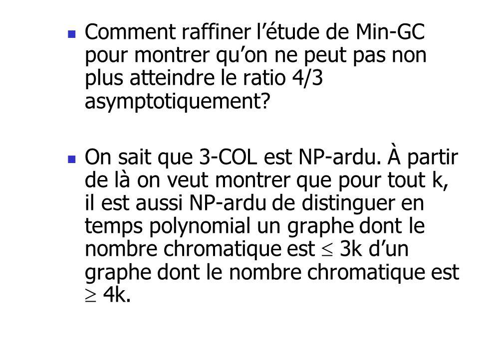 Comment raffiner létude de Min-GC pour montrer quon ne peut pas non plus atteindre le ratio 4/3 asymptotiquement? On sait que 3-COL est NP-ardu. À par
