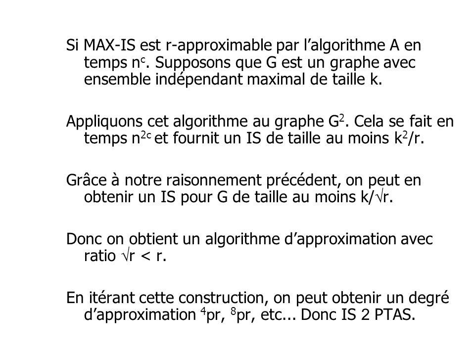 Si MAX-IS est r-approximable par lalgorithme A en temps n c. Supposons que G est un graphe avec ensemble indépendant maximal de taille k. Appliquons c