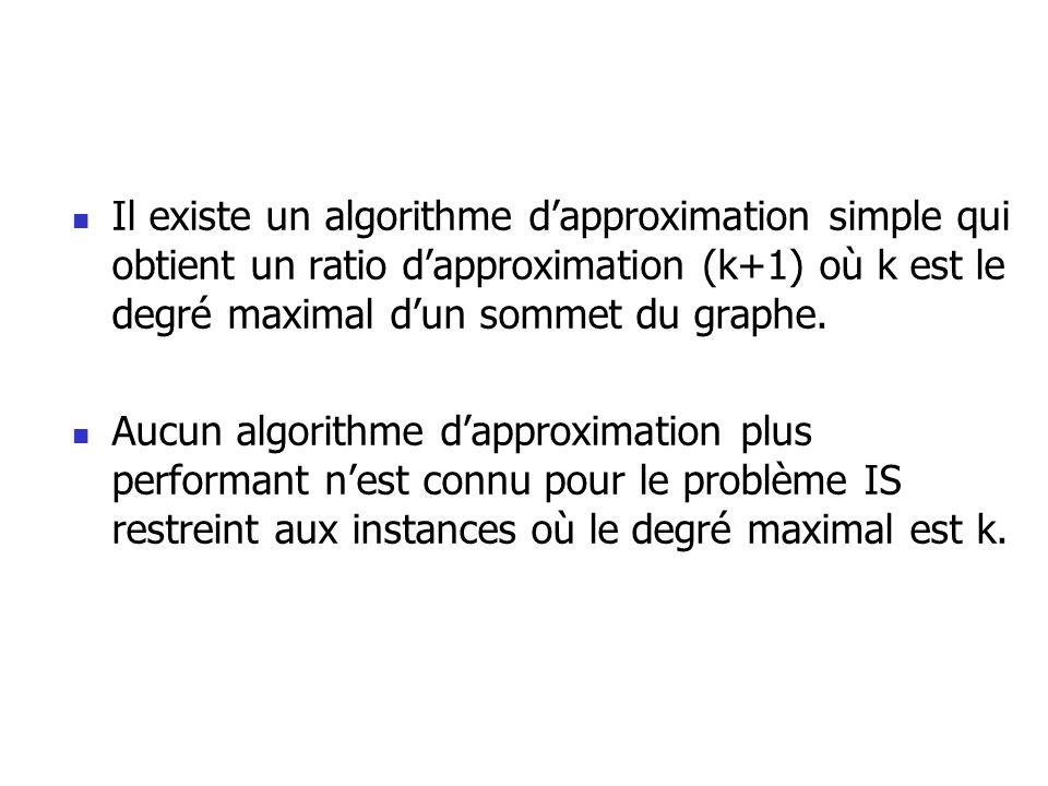 Il existe un algorithme dapproximation simple qui obtient un ratio dapproximation (k+1) où k est le degré maximal dun sommet du graphe. Aucun algorith