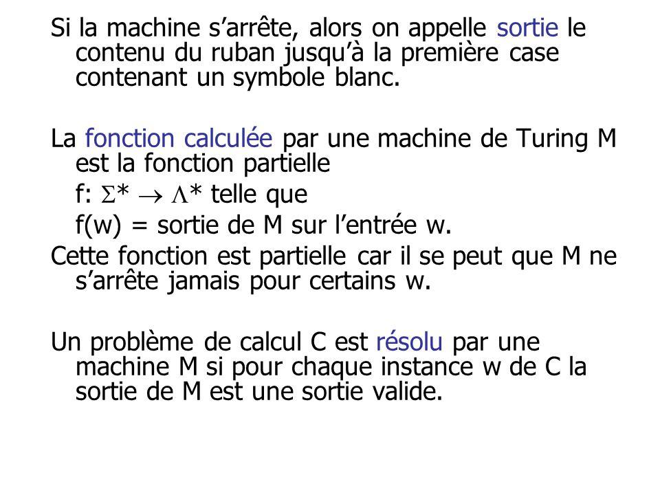 Si la machine sarrête, alors on appelle sortie le contenu du ruban jusquà la première case contenant un symbole blanc. La fonction calculée par une ma