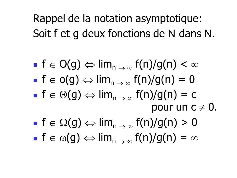 Rappel de la notation asymptotique: Soit f et g deux fonctions de N dans N. f O(g) lim n f(n)/g(n) < f o(g) lim n f(n)/g(n) = 0 f (g) lim n f(n)/g(n)