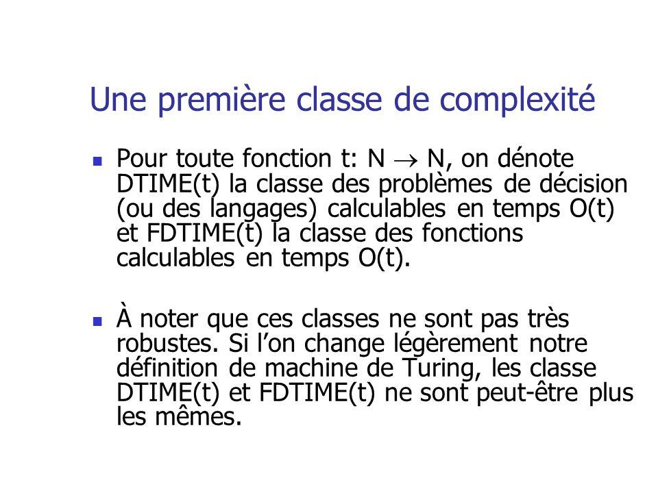 Une première classe de complexité Pour toute fonction t: N N, on dénote DTIME(t) la classe des problèmes de décision (ou des langages) calculables en