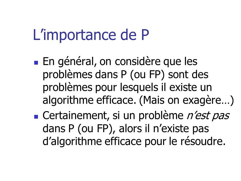 Limportance de P En général, on considère que les problèmes dans P (ou FP) sont des problèmes pour lesquels il existe un algorithme efficace. (Mais on
