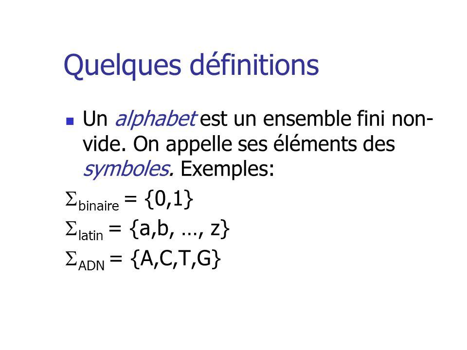Quelques définitions Un alphabet est un ensemble fini non- vide. On appelle ses éléments des symboles. Exemples: binaire = {0,1} latin = {a,b, …, z} A
