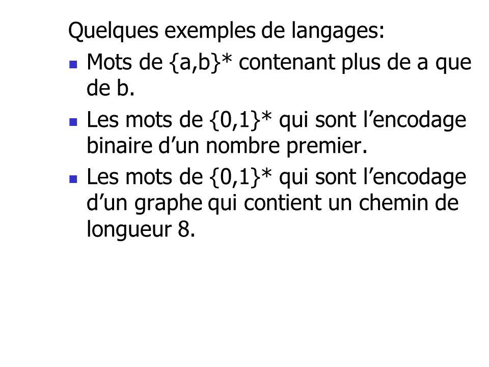 Quelques exemples de langages: Mots de {a,b}* contenant plus de a que de b. Les mots de {0,1}* qui sont lencodage binaire dun nombre premier. Les mots