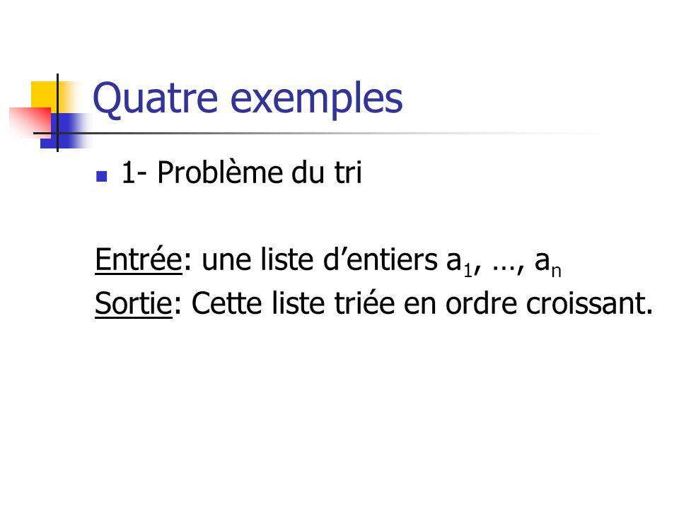 Quatre exemples 1- Problème du tri Entrée: une liste dentiers a 1, …, a n Sortie: Cette liste triée en ordre croissant.