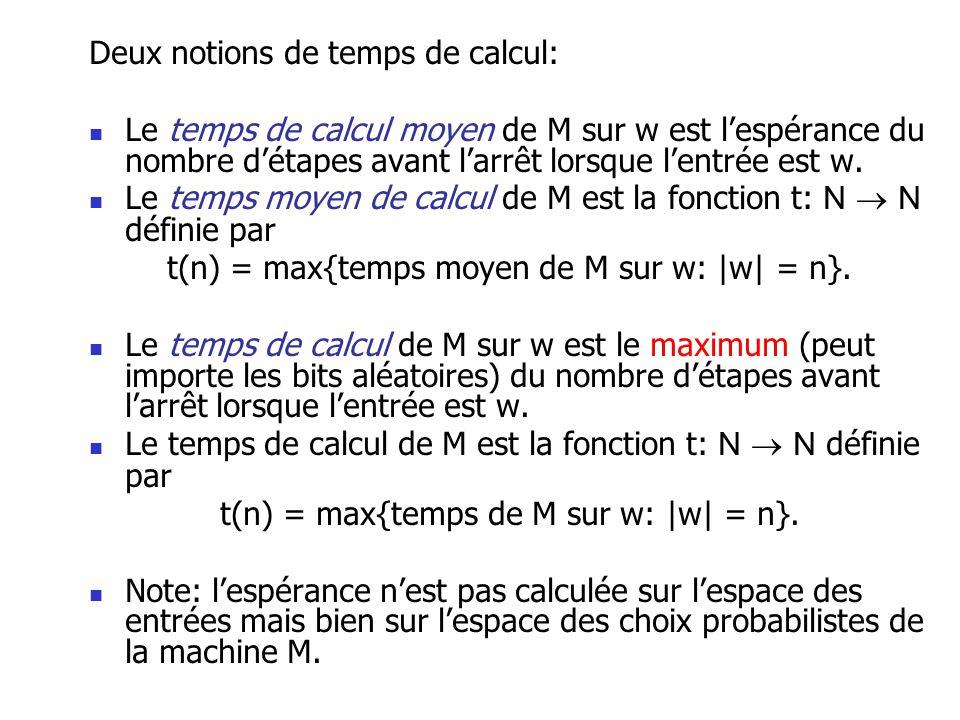 Deux notions de temps de calcul: Le temps de calcul moyen de M sur w est lespérance du nombre détapes avant larrêt lorsque lentrée est w. Le temps moy