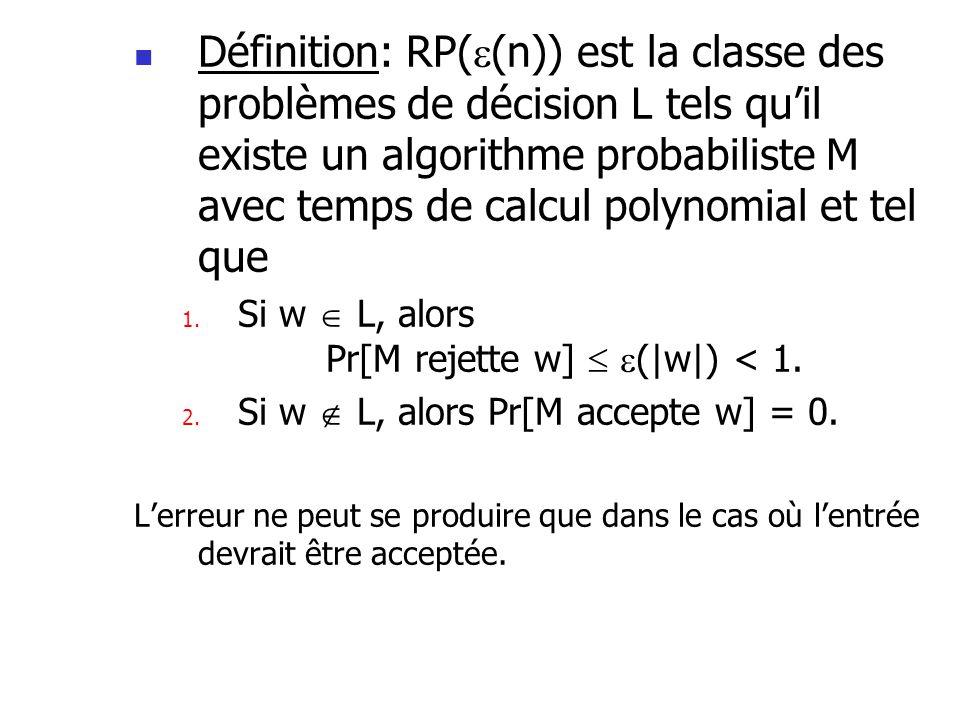 Définition: RP( (n)) est la classe des problèmes de décision L tels quil existe un algorithme probabiliste M avec temps de calcul polynomial et tel qu